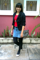 red random top - black Forever 21 blazer - blue DIY skirt - black random tights