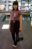 purple arnessio blouse - purple chic simple skirt - pink Marie Claire shoes - bl