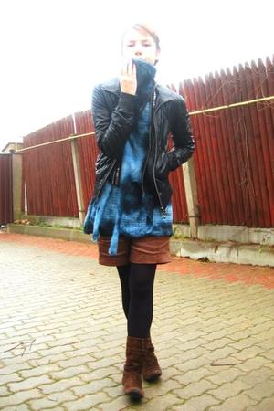 zaffers jacket - H&M scarf - H&M vest - sweater - Labbra Rosse shorts - Mango
