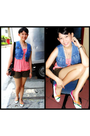 blue Zara vest - orange Zara top - green Bayo shorts - Lacoste shoes - black ell