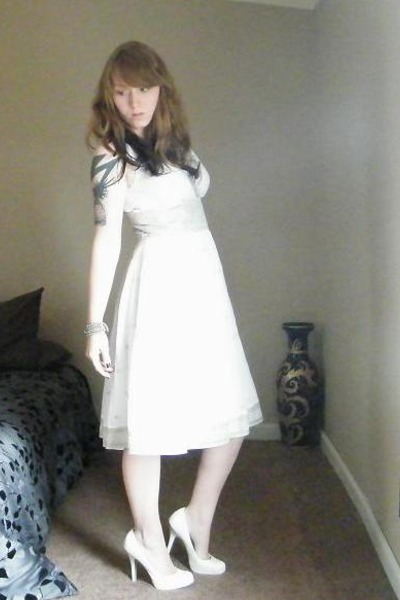 white Mizrahi for Target dress - white Bamboo shoes - silver necklace