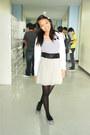 White-just-g-dress-dark-gray-leggings-silver-andrea-flats-ivory-cardigan