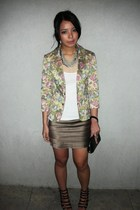 blazer - green department store skirt - black Guess purse