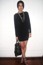 black Mango dress - black boutique shoes - black Bag - silver random accessories