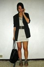 White-jessica-dress-black-vivienne-tam-blazer-green-rockwell-bazaar-shoes-
