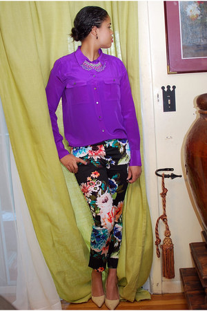 black H&M pants - eggshell Anne Klein shoes - purple JCrew shirt