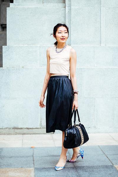 Lauren Jasmine blouse - Aldo bag - midi leather Lauren Jasmine skirt