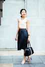 Lauren Jasmine blouse - Aldo bag - midi leather Lauren Jasmine skirt