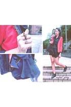 red thrifted vintage blazer - chiffon Topshop skirt