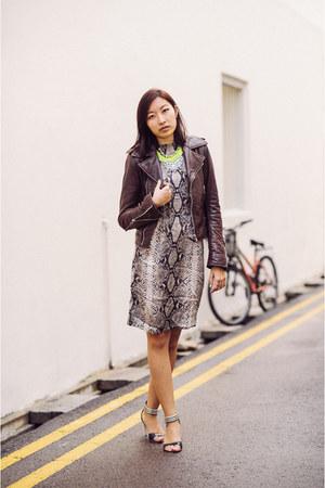 dark brown balenciaga jacket - lanvin dress