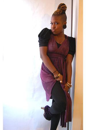 purple naKiMuli dress - black leggings