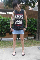 Urban Outfitters t-shirt - customised skirt - Chanel accessories - YSL shoes