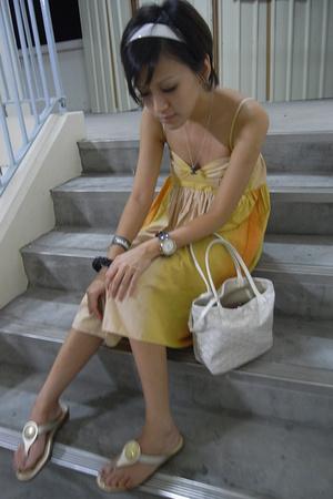 hogan shoes - INC dress - goyard bag - alex and chloe necklace