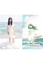 white dress - white accessories