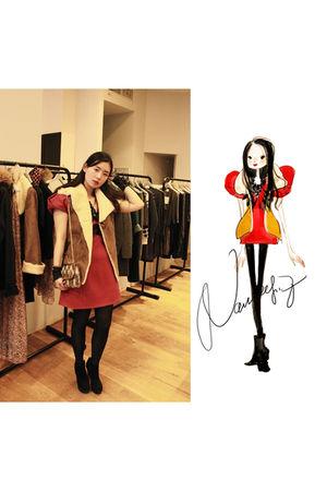 brown Stella Forest vest - red COS dress