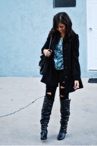 black Denimocracy pants - teal Forever 21 blouse - black H&M coat - black unknow