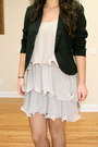 Black-cropped-forever-21-blazer-beige-ruffled-h-m-dress