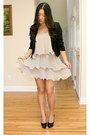 Beige-ruffled-h-m-dress-black-cropped-forever-21-blazer