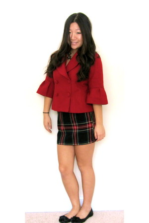 brick red Forever 21 jacket - plaid Forever 21 skirt - black Wanted flats