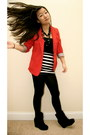 Red-vintage-blazer-black-forever21-tights-black-striped-forever21-skirt