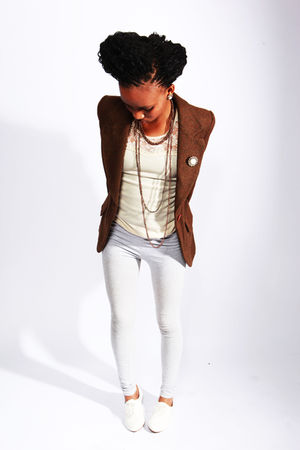 brown vintage blazer - beige RT MR PRICE vest - silver from a flee market leggin