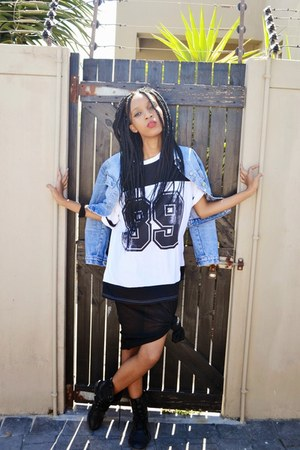 denim jacket Forever New jacket - vintage boots - knitted dress Mr Price dress