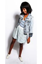 blue RT MR PRICE jacket - blue stall top - blue own design skirt - white RT MR P