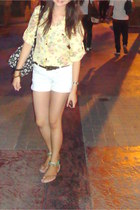light yellow top - bag - white shorts - dark brown Dorothy Perkins belt