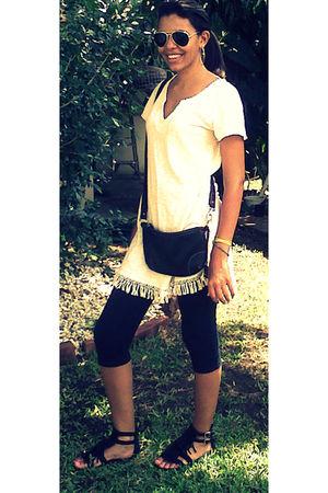 Gap leggings - Zara shirt - Europiel shoes - Tommy Hilfiger purse - vintage glas