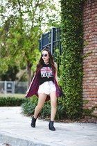 black Forever 21 sunglasses - brick red Forever 21 vest - black Forever 21 top