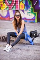 silver Dolce Vita sneakers - black AG Jeans jeans - navy blush top