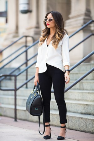 black AG Jeans jeans - white melao shirt - black Danielle Nicole bag