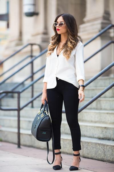 black AG Jeans jeans - white melao shirt - black Danielle Nicole bag