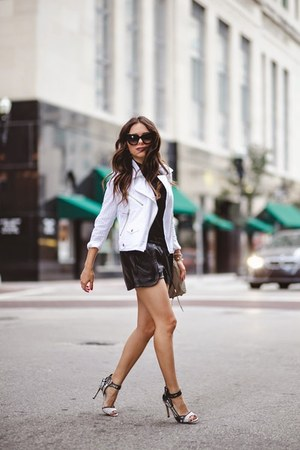 black Dolce Vita shoes - white Rebecca Minkoff jacket
