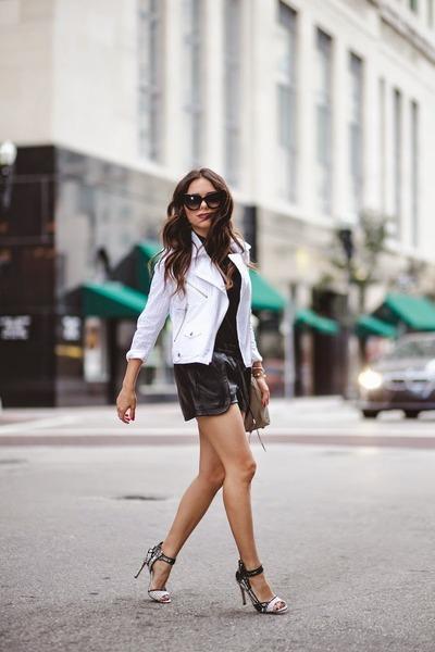 black Dolce Vita shoes - white Rebecca Minkoff jacket