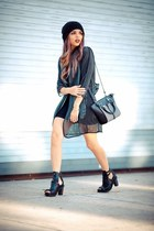 black mesh Style Mafia jacket - black Dr Martens boots - black Forever 21 dress