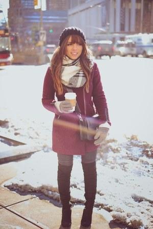maroon asos coat - black Guess boots - heather gray Dailylook scarf