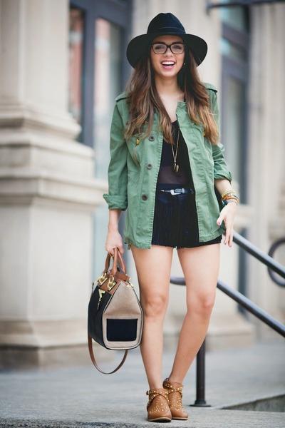 black Danielle Nicole bag - tawny Shoedazzle boots - black Guess shorts