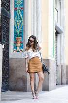 Suede Skirt and Off-the Shoulder