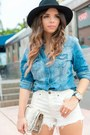 Black-ankle-boots-guess-boots-blue-denim-guess-shirt