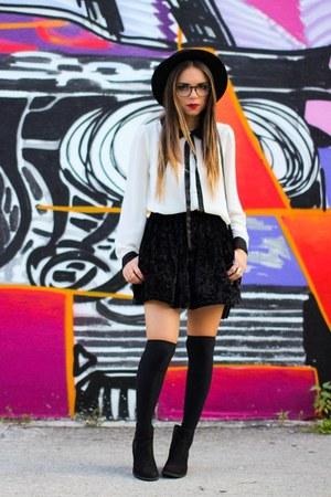 black LAmour Nanette Lepore skirt - black H&M tights