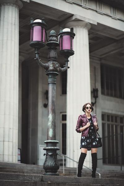 black Guess boots - black moon-sun Motel Rocks dress - black Danielle Nicole bag