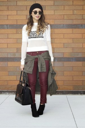black ted baker bag - black ankle boots H&M boots - brick red burgundy H&M pants