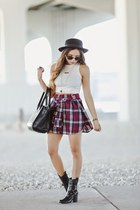 black Guess boots - black Forever 21 hat - white American Apparel shirt