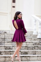 gold Movado watch - magenta backless Lovers and Friends dress