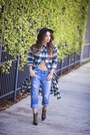 Blue-boyfriend-ag-jeans-jeans-black-forever-21-hat-navy-plaid-shoppiin-shirt