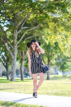 white beginning boutique romper - black Shoedazzle shoes - black H&M hat