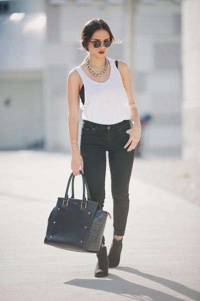 black ankle booties H&M boots - black black Big star jeans - black ted baker bag
