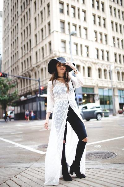 black H&M boots - white Forever 21 dress - black asos jeans