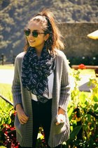 heather gray romwe cardigan - black H&M boots - brown Ray Ban sunglasses